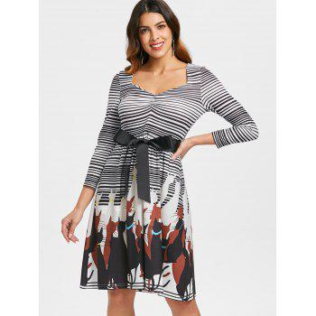 Retro Striped Cat Print Flare Dress - multicolor XL