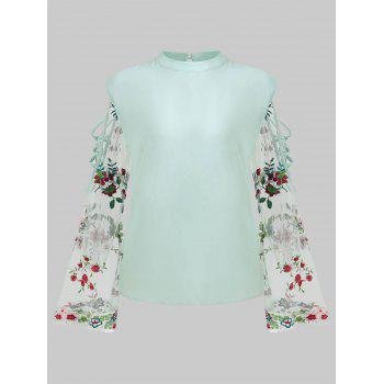 Plus Size Sheer Bell Sleeve Blouse - GREEN L