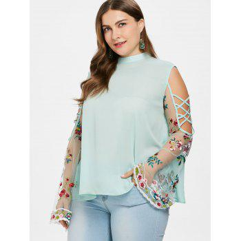 Plus Size Sheer Bell Sleeve Blouse - GREEN 2X