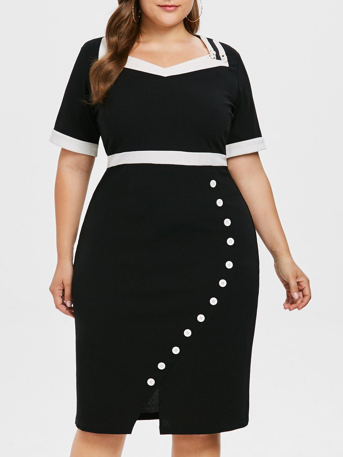 Color Block Plus Size Bodycon Dress - BLACK L
