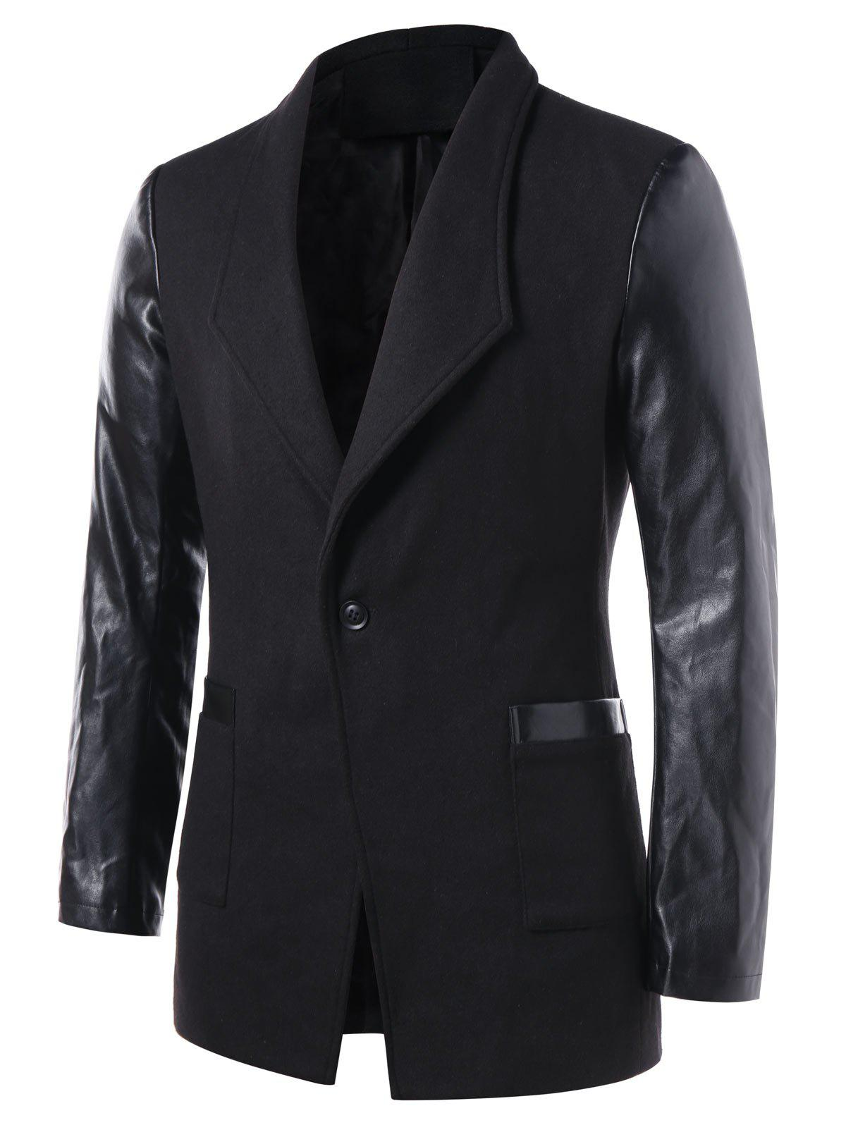 One Button PU Leather Panel Coat - BLACK XL