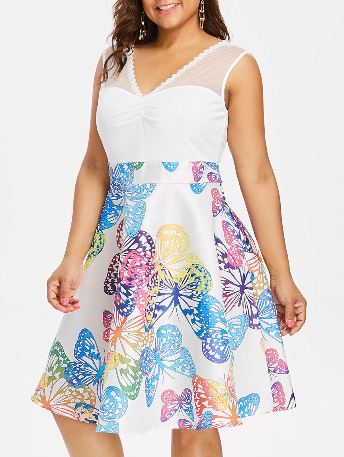 Plus Size High Waist Sleeveless Butterflies Dress - MILK WHITE 1X