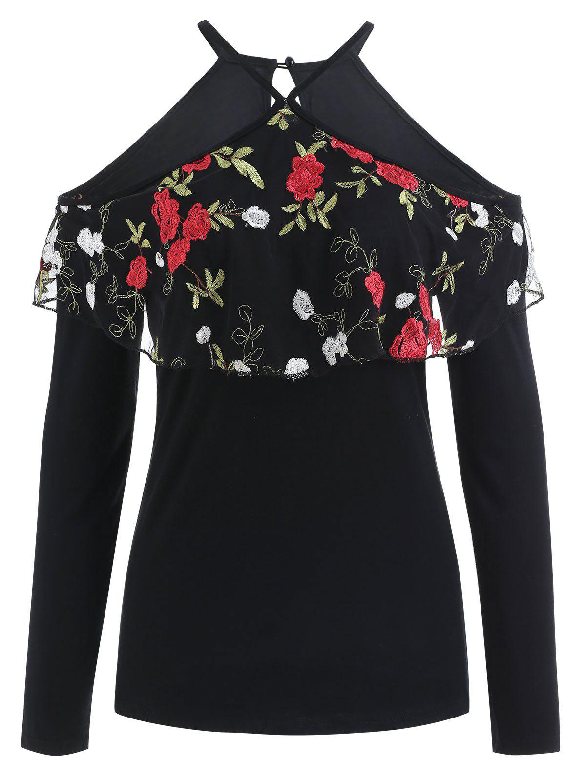 Flowered Flounce Overlay Long Sleeve Top - BLACK S