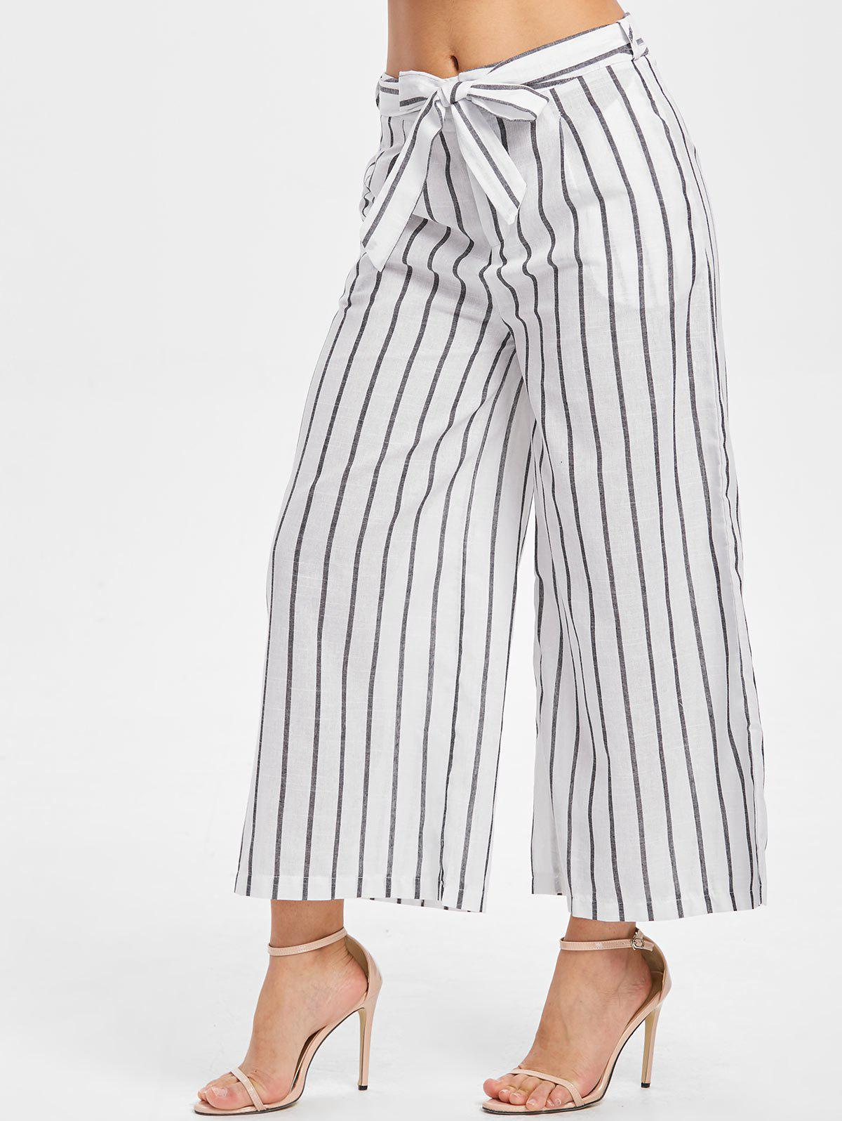 Striped Panel Wide Leg Pants with Belt - WHITE L