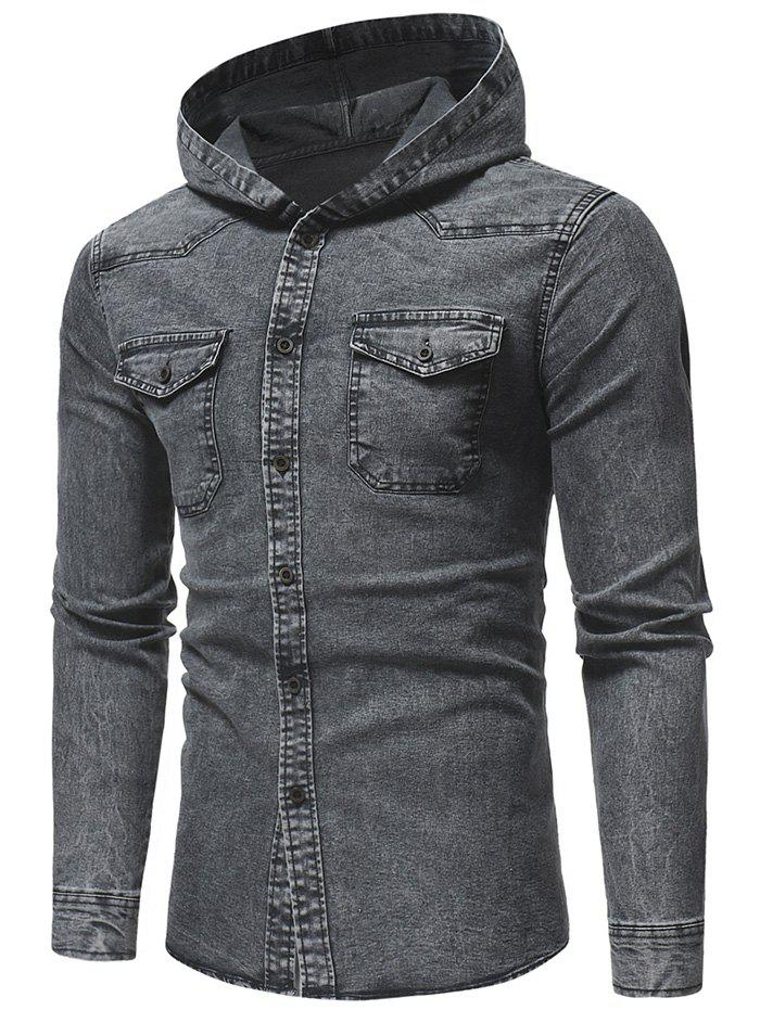 Long Sleeve Patchwork Hooded Shirt - GRAY S