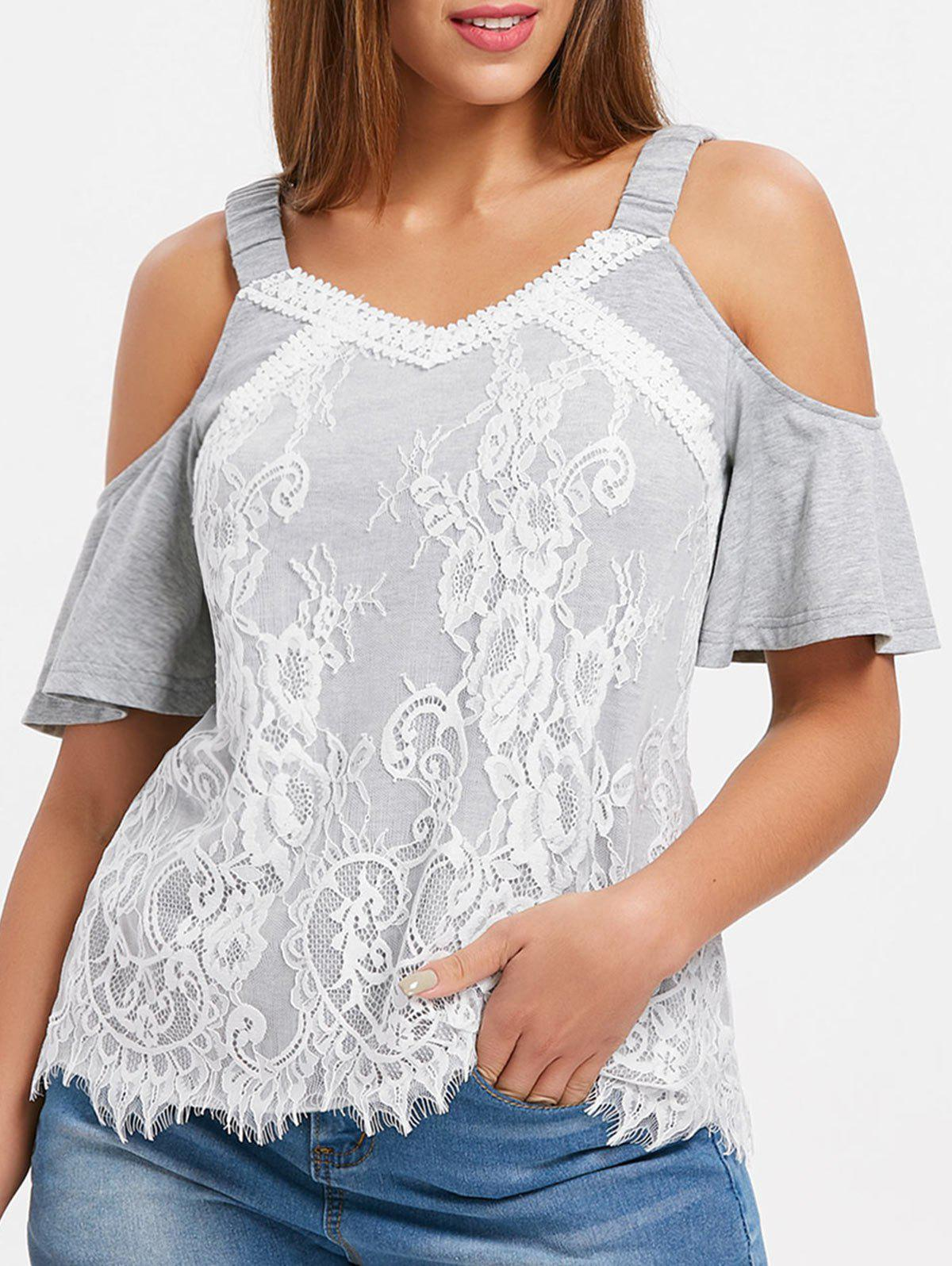 Elastic Straps Cut Out Shoulder Blouse - LIGHT GRAY XL