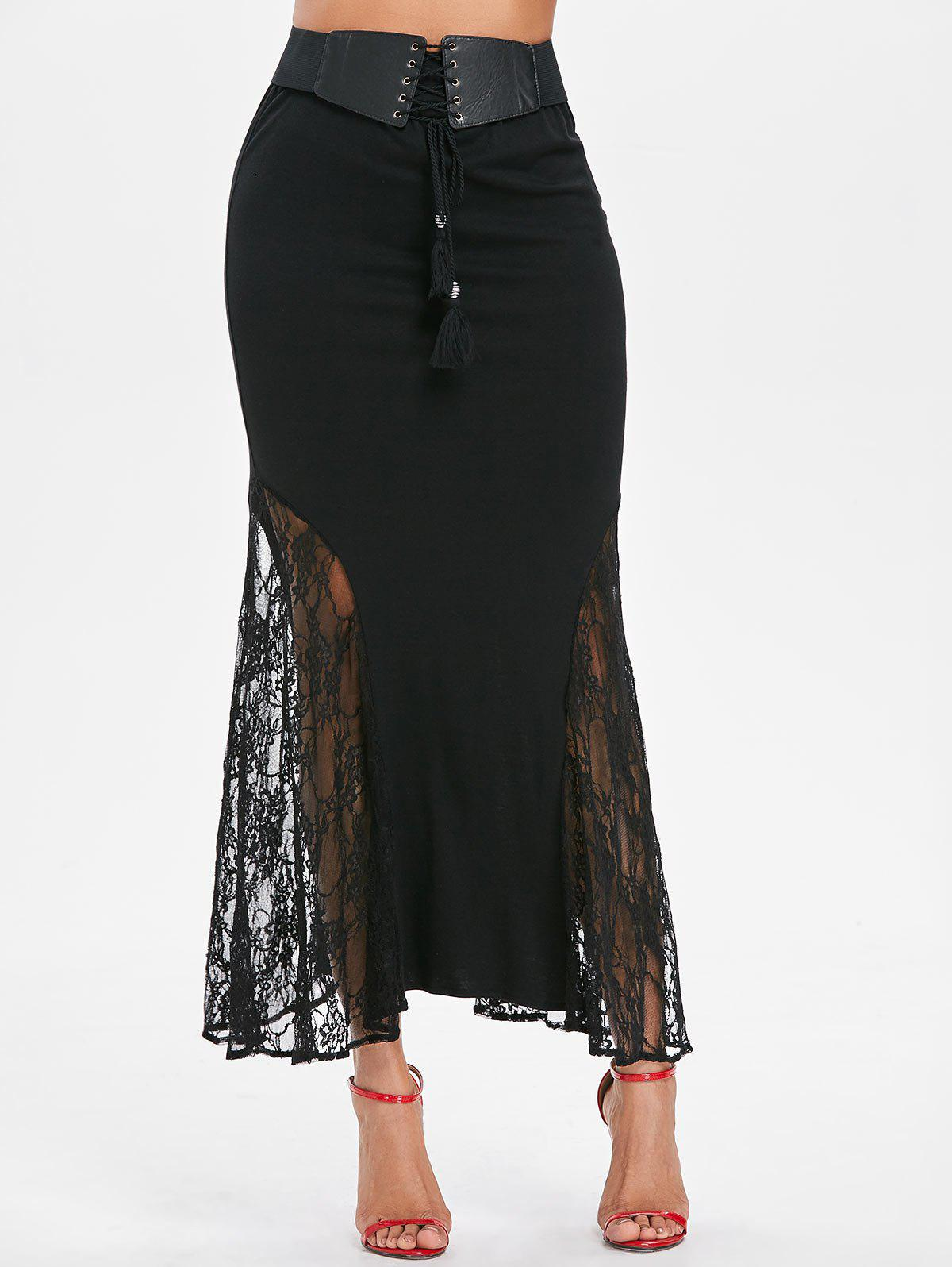 Lace Insert Long Mermaid Skirt - BLACK S