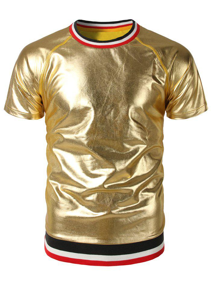 Club Wear Striped Rib Shiny Short Sleeve Tee - GOLDEN BROWN 2XL