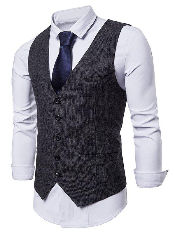 V Neck Slim Fit Dress Vest - BLACK M