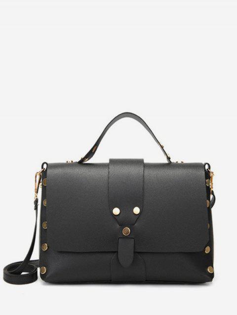 Top Handle Casual Studs Crossbody Bag - BLACK