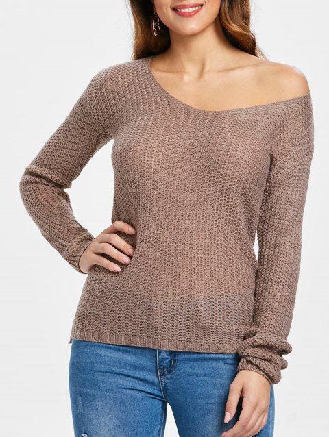 Casual V-Neck Solid Color Long Sleeves Women's Pullover Sweater - PALE PINKISH GREY M