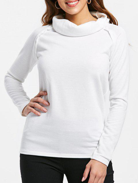 Stylish Long Sleeve Turtleneck Solid Color Women's Sweatshirt - OFF WHITE L