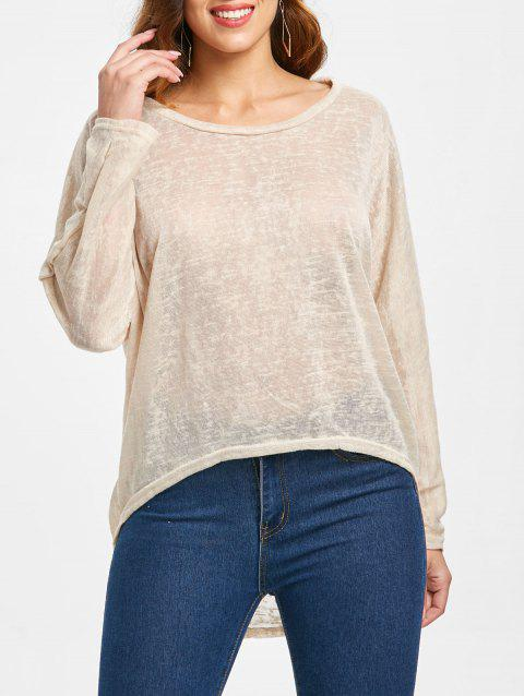 Dolman Sleeve Asymmetrical Pullover Sweater - APRICOT L