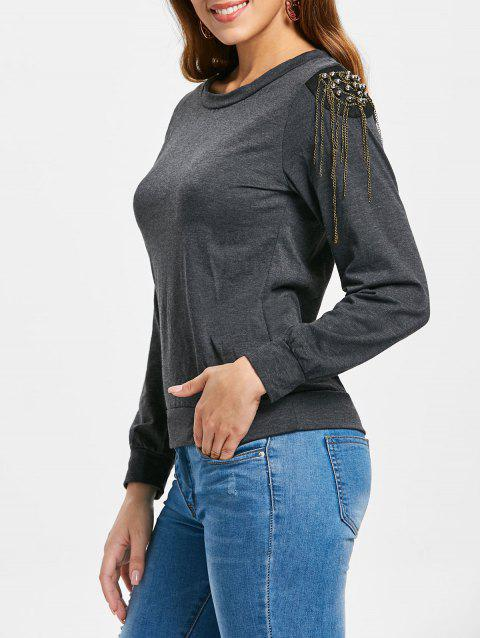 Trendy Long Sleeve Jewel Neck Solid Color T-Shirt For Women - GRAY L