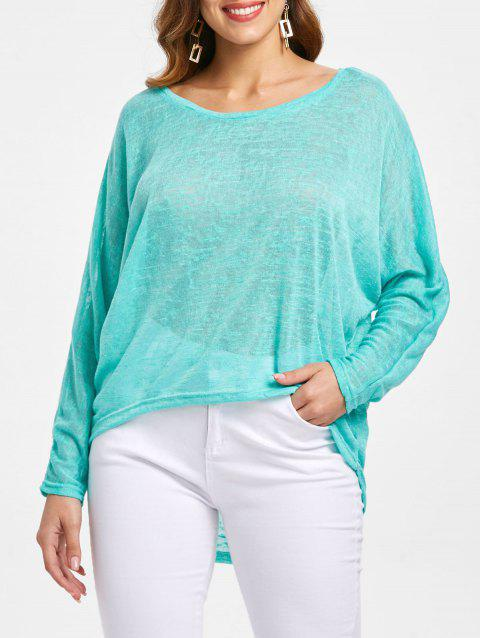Dolman Sleeve Asymmetrical Pullover Sweater - GREEN XL