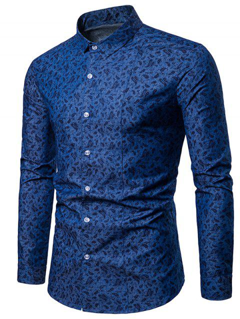 Allover Paisley Print Casual Shirt - DEEP BLUE XL