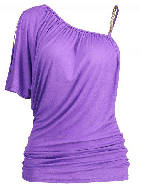 Chain Embellished Skew Neck Fitted T-shirt - PURPLE XL