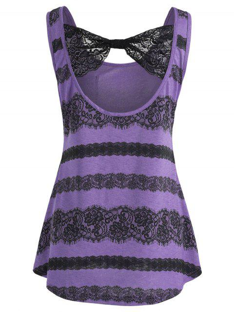 Lace Panel Low Back Tank Top - PURPLE S