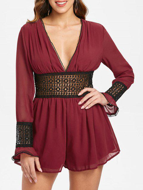 See Through Lace Crochet Romper - RED WINE L