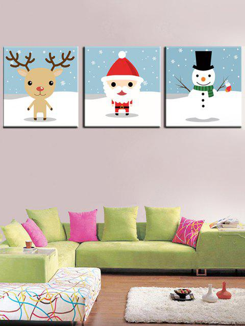 Christmas Theme Print Unframed Canvas Paintings - multicolor 3PCS:20*20 INCH( NO FRAME )