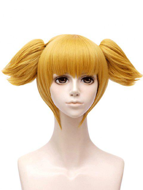 Anime Pop Team Epic Popuko Cosplay Short Straight Two Ponytails Synthetic Wig - GOLDEN BROWN