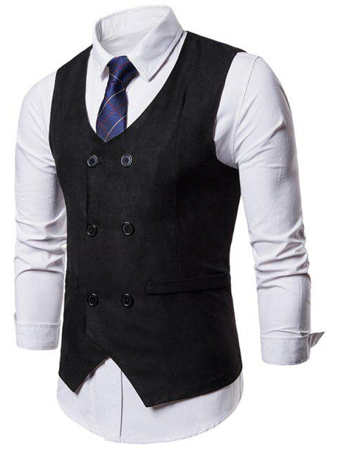 Slim Fit Double Breasted Formal Waistcoat - BLACK L