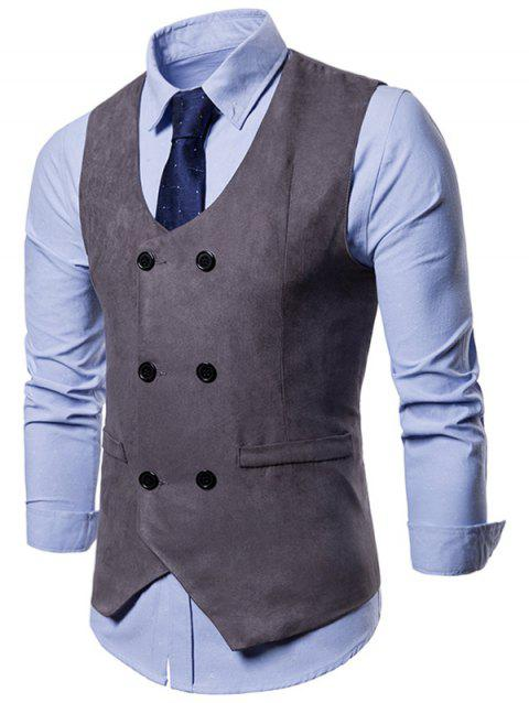 Slim Fit Double Breasted Formal Waistcoat - GRAY M