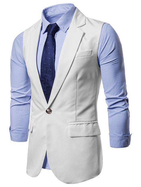 Slim Fit Single Button Suit Waistcoat - WHITE M
