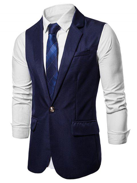 Slim Fit Single Button Suit Waistcoat - CADETBLUE 2XL