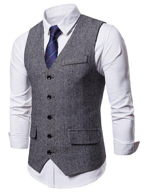Faux Pocket Embellished Suit Dress Vest - GRAY M