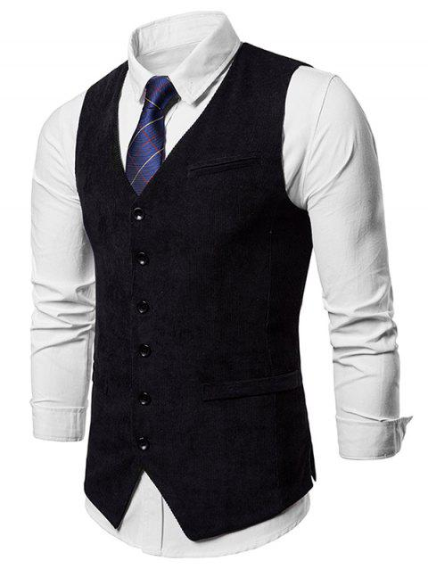 Faux Pocket Slim Fit Waistcoat - BLACK 2XL