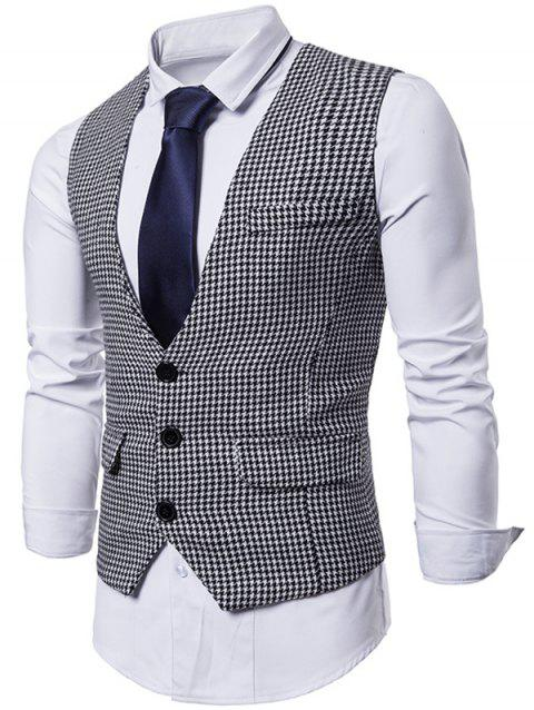 Single Breasted Plaid Suit Vest - WHITE L