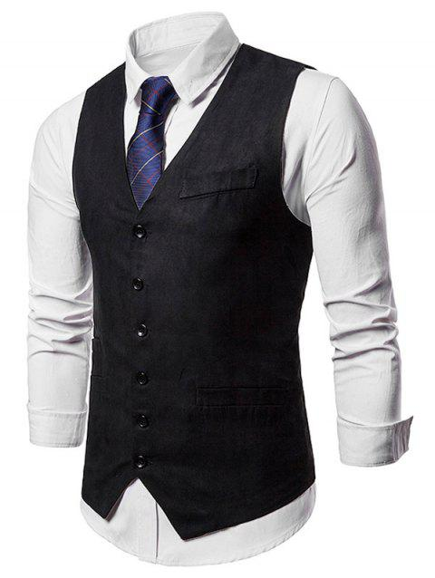 Single Breasted False Pockets Waistcoat - BLACK M