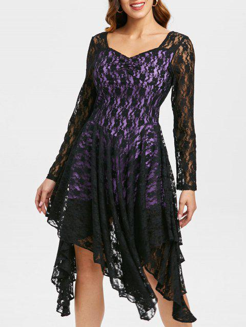 Asymmetric Sweetheart Neck Lace Dress - PURPLE XL