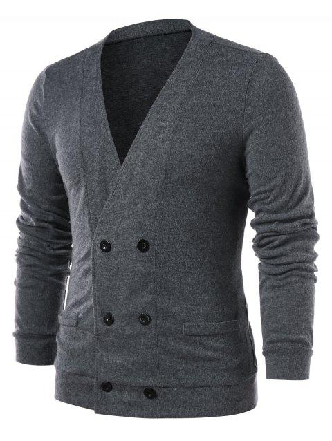 Collarless Double Breasted Solid Color Cardigan - GRAY XL