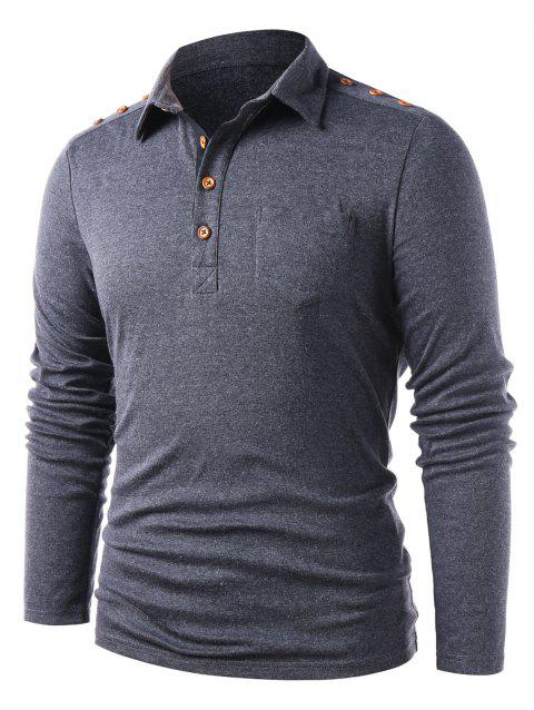 Long Sleeve Button Embellished Casual T-shirt - DARK SLATE GREY M