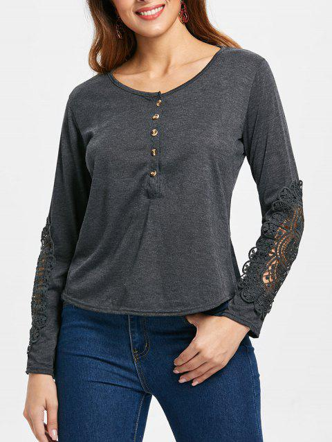 Casual Lace Splicing Scoop Neck Long Sleeve T-Shirt For Women - DEEP GRAY M