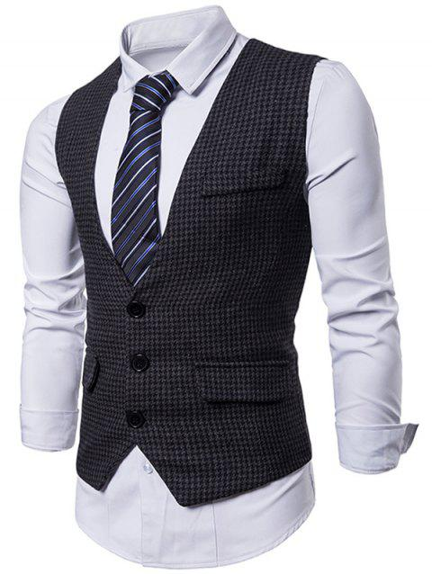 Gilet Costume à Carreaux avec Simple Boutonnage - Noir XL