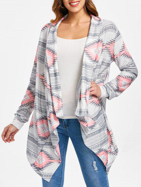 Vintage Long Sleeve Geometric Printed Asymmetric Cardigan For Women - PINK M