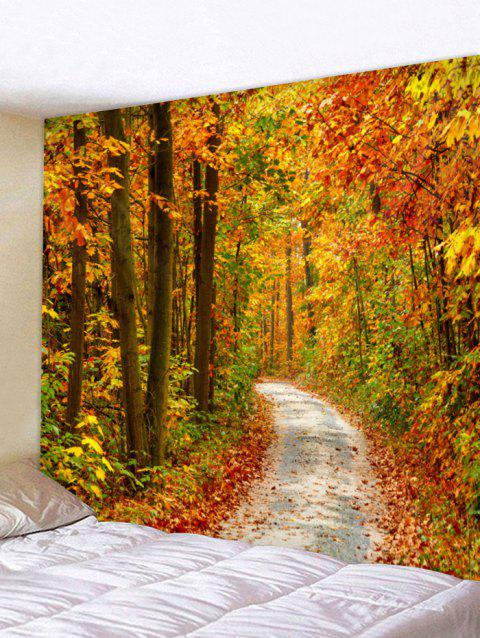 Maple Forest Path Pattern Tapestry Wall Art - CANTALOUPE W91 INCH * L71 INCH