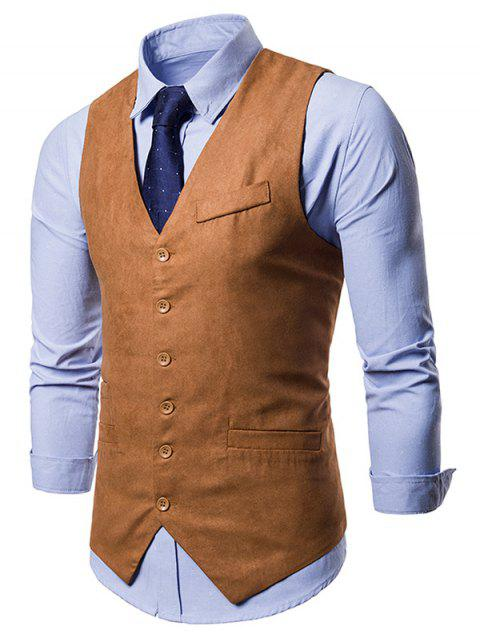 Single Breasted False Pockets Waistcoat - LIGHT BROWN M