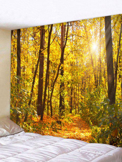 Sunny Forest Gorgeous Autumn Print Removable Wall Tapestry - GOLDEN BROWN W91 INCH * L71 INCH