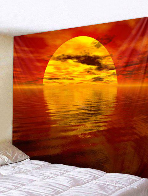 Sunset Lake Print Removable Wall Tapestry - RED W91 INCH * L71 INCH