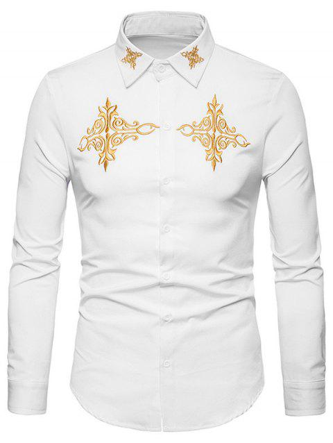 Chinese Style Embroidery Button Up Shirt - WHITE XL