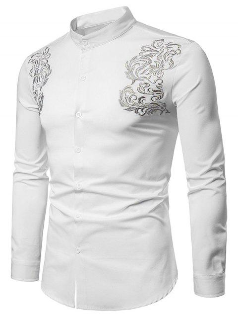 Vintage Embroidery Stand Collar Long Sleeve Shirt - WHITE L