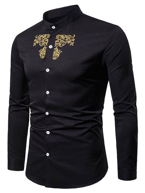 Palace Style Embroidery Stand Collar Long Sleeve Shirt - BLACK M