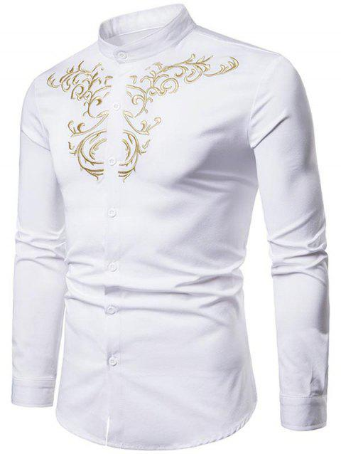 Royal Palace Style Chest Embroidery Stand Collar Shirt - WHITE XL