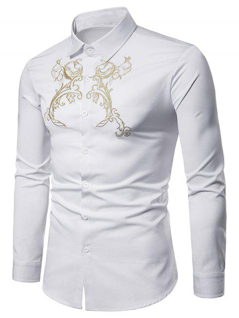 Royal Palace Style Chest Embroidery Long Sleeve Shirt - WHITE L