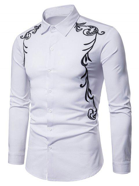 Vintage Leaves Embroidery Long Sleeve Shirt - WHITE XL