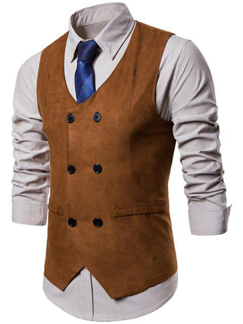 Slim Fit Double Breasted Formal Waistcoat - TIGER ORANGE L